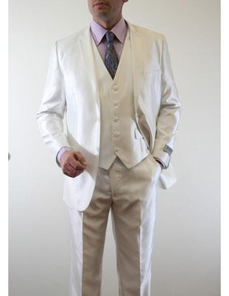 Men's Sharkskin Flashy Metallic Silky Shiny  3 Piece Suit Slim Fit Ivory Suit