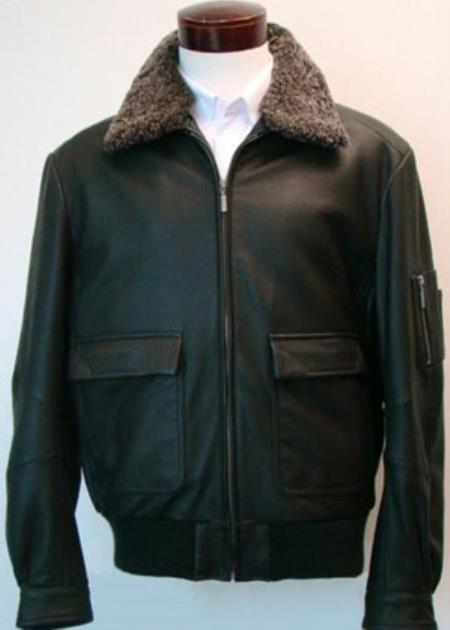 Mens Classic Aviation Big and Tall Bomber Jacket With Sherpa-Lined Collar & Flap Pockets Black