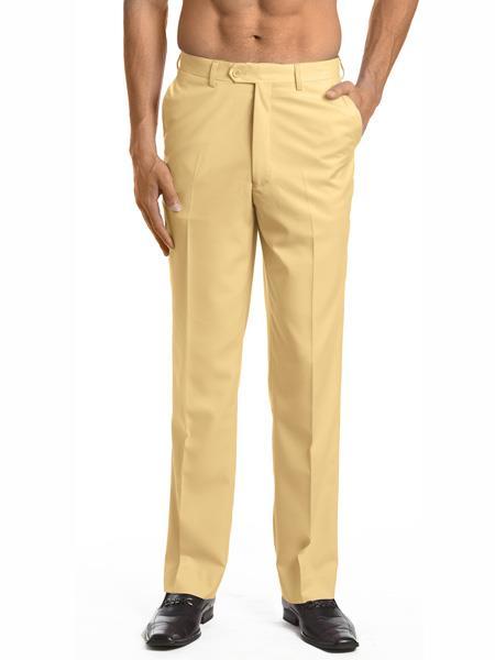 Mens Dress Pants Trousers Flat Front Slacks Gold
