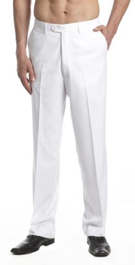 Mens Tuxedo Pants Flat Front with Satin Band White