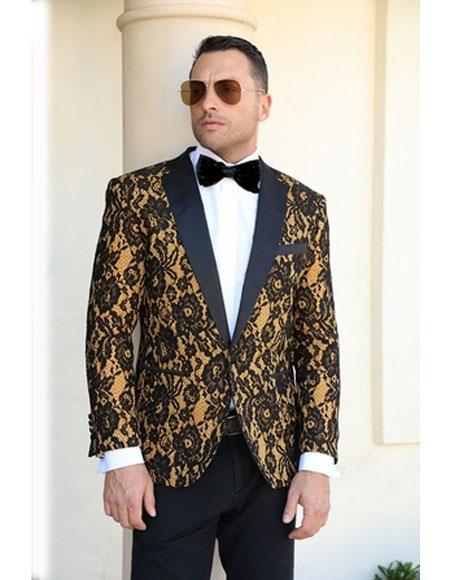 Mens  1 Button Floral Pattern Gold Tuxedo