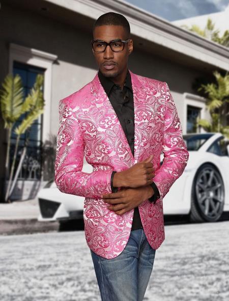 Alberto Nardoni Brand Fashion Mens shiny sequin Fuchsia ~ black lapel blazer fashion pink sportcoat