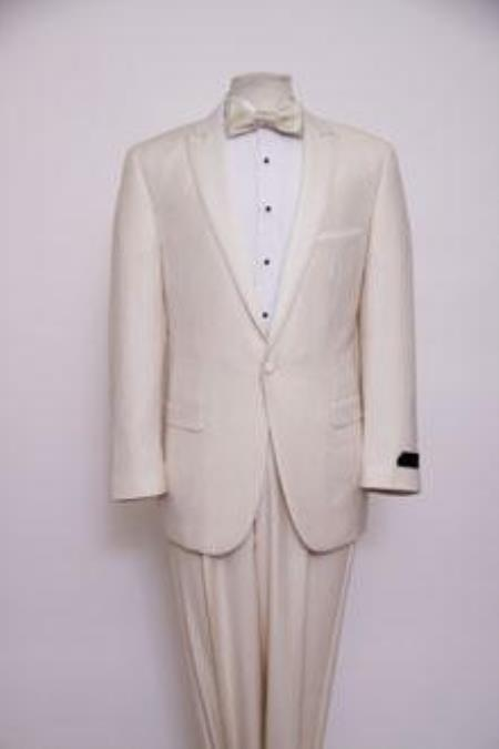 1920s Tuxedo, Hats, Shoes, Shirts and Formal Wear Mens Dress Formal Ivory  Cream  Off White Dinner Jacket  Tuxedo  Blazer  Sport 1 Button Peak Lapel $199.00 AT vintagedancer.com