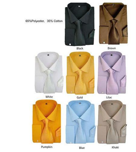 Formal Classic Solid Dress Shirt w/ Tie And Handkerchief Set Multi-color Men's Dress Shirt
