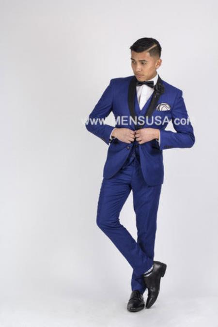 SKU#RM1872 Mens Formal Looking Blazer & Sport Coat & Jacket 3 Piece Shawl Lapel Royal Blue Suit or Tuxedo