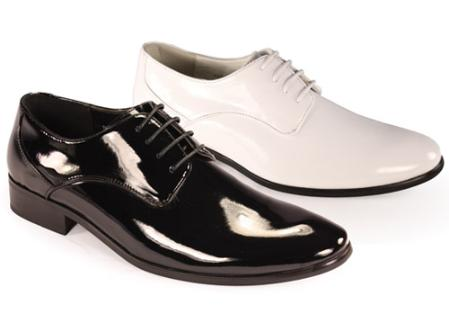 SKU#GP3922 Oxfords Tuxedo Formal Mens Classic shiny flashy Lace Formal Shoes in Black and White