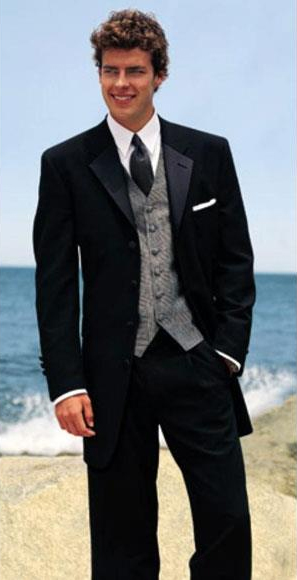 Mens Black 100% Wool Tuxedo Four Buttons Style with Pleated Pants