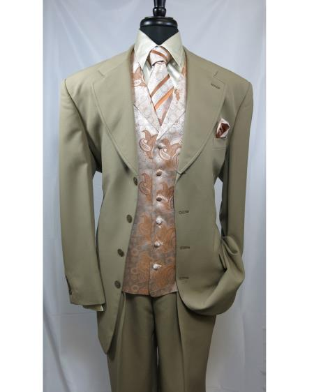 Mens Paisley Vested 4 button Cheap Priced Designer Fashion Dress Casual Blazer For Men On Sale Suit Tan ~ Beige Orange Blazer Looking