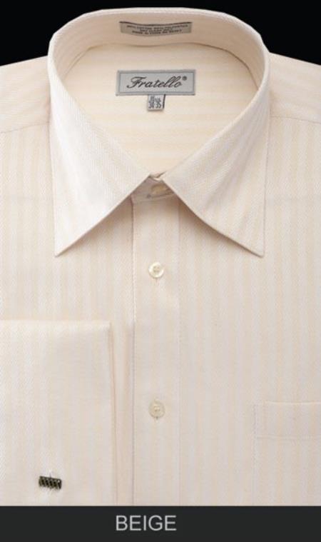 Fratello French Cuff Beige  - Herringbone Tweed Stripe Big and Tall Sizes 18 19 20 21 22 Inch Neck Mens Dress Shirt