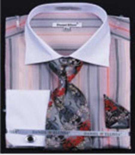 SKU#PN-S3 Mens Multi Stripe French Cuff Shirts With Cuff Links Black