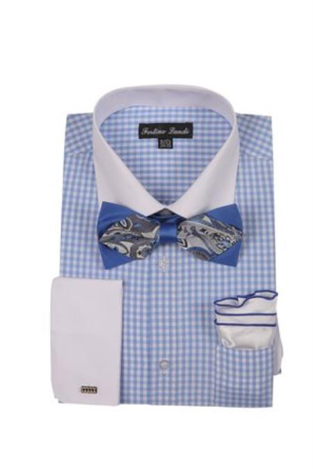 White Collared Contrast Blue Mens French Cuff Checks Shirt With High Fashion Bowtie And Handkerchief White Collar Two Toned Contrast