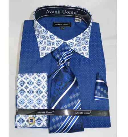 Bird Pattern French Cuff With Contrasting Collar Blue Men's Dress Shirt