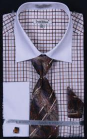 Daniel Ellissa French Cuff Brown with Tie, Hanky and Cuff Links 18 19 20 21 22 Inch Neck Men's Dress Shirt