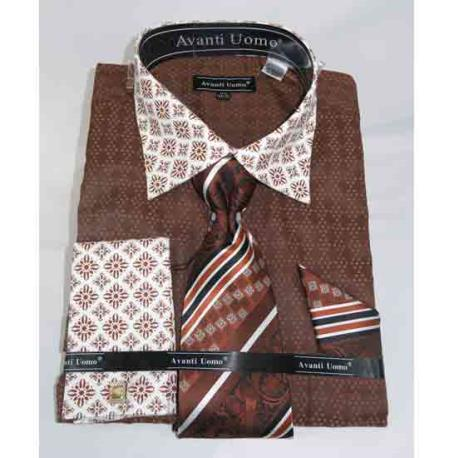 Mens Bird Pattern Brown French Cuff With Contrasting Collar Dress Shirt
