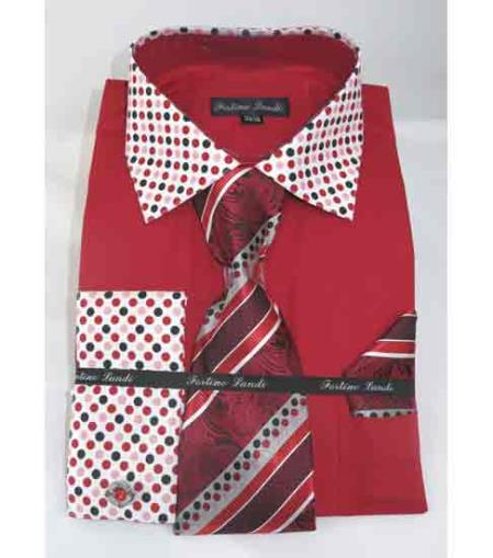 Mens French Cuff Solid Body With Poka-a-dot Collar Red Fire Dress Shirt