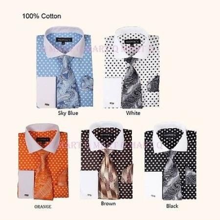 Buy PNV53 Men's French Cuff Dress Shirt Polka Dot Tie Handkerchief Set White Collar Two Toned Contrast Multi-color