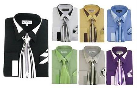 Classic French Cuff Set w/ tie and Handkerchief Mens Dress Shirt