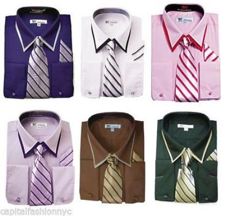Classic French Cuff  With Tie And Handkerchief Style Multi-Color Men's Dress Shirt With Tie