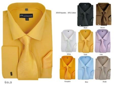 Solid French Cuff Matching Tie+Handkerchief Style Multi-Color Men's Dress Shirt