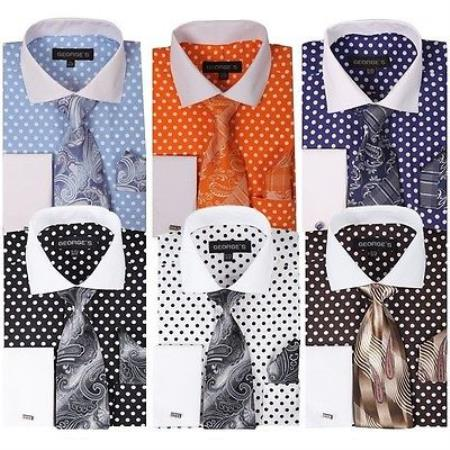 Buy PN98 Men's Polka Dot French Cuff Dress Shirt Matching Tie + Handkerchief Set White Collar Two Toned Contrast Multi-Color
