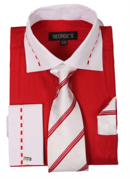 Mens Dress Shirt Set with White Collar and French Cuf Red,Purple