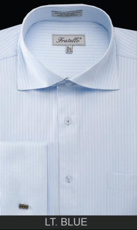 SKU#LT54C Mens French Cuff Dress Shirt - Classic Stripe Light Blue