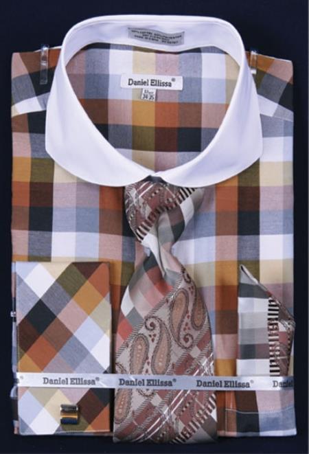 SKU#VS721 Mens French Cuff Dress Shirt Set Bright Checker Brown Plaid ~ Windowpane