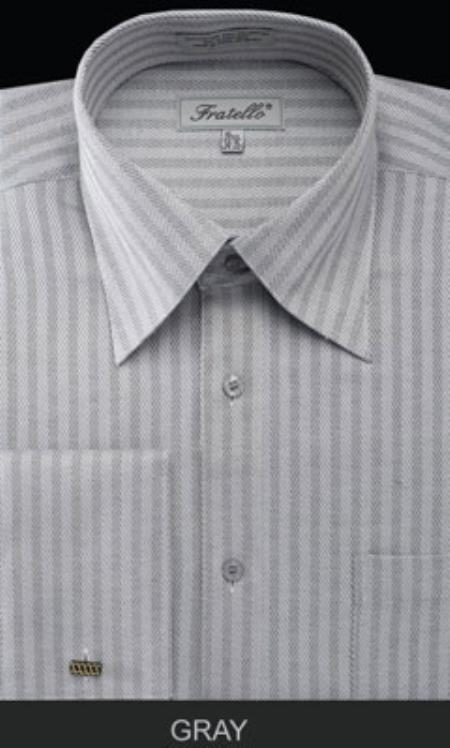 Buy MK671 Mens Fratello French Cuff Gray Dress Shirt - Herringbone Tweed Stripe Big Tall Sizes