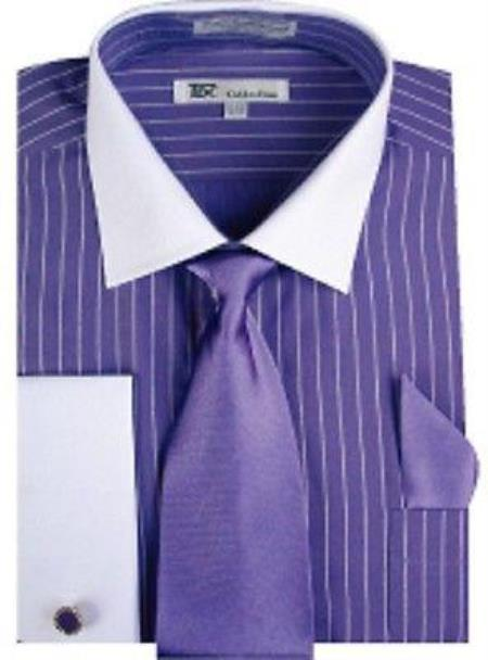 Stylish Classic French Cuff Striped and cuff Purple White Collar Two Toned Contrast Mens Dress Shirt