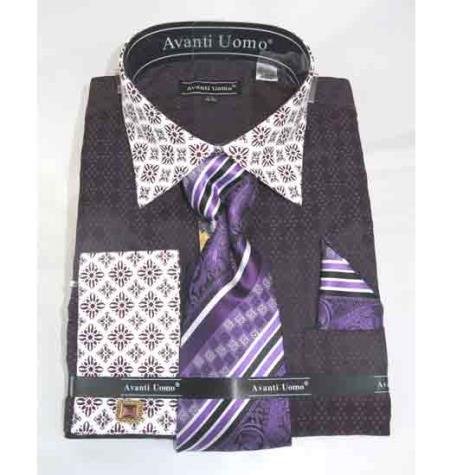 French Cuff Bird Pattern With Contrasting Collar Purple Men's Dress Shirt