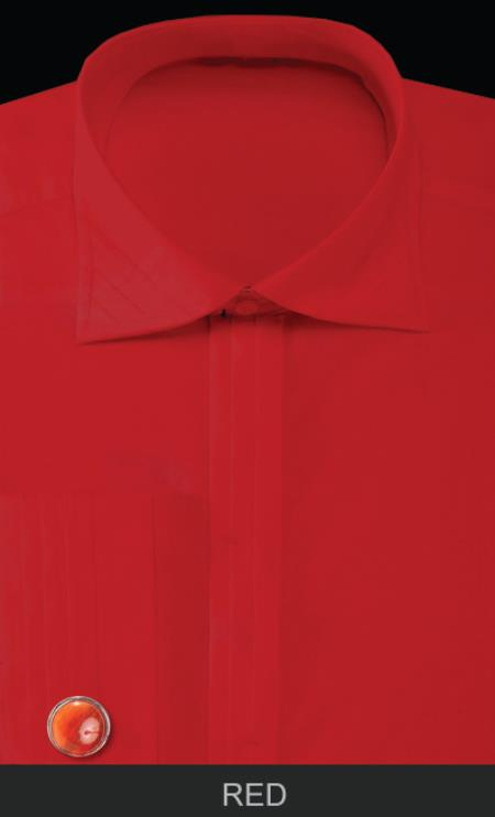Red rounded cuff link with Solid Pleated Londoner Collar Cotton/poly Men's Dress Shirt