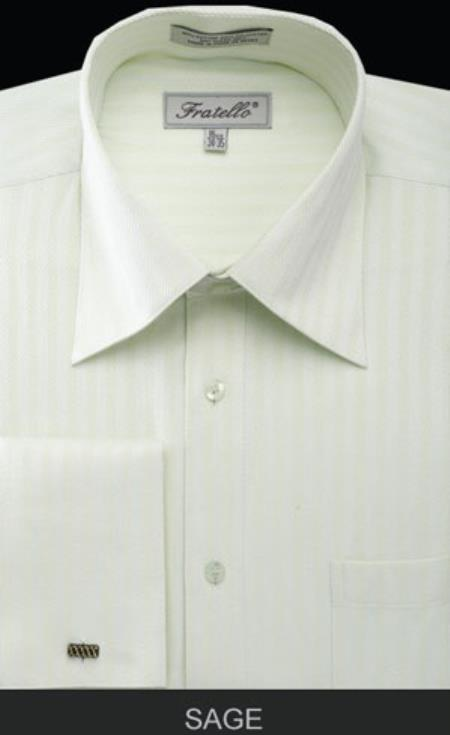 Mens Fratello French Cuff Sage Dress Shirt - Herringbone Tweed Stripe Big and Tall Sizes