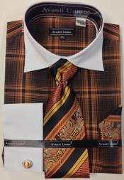 Mens Avanti Uomo Chest Large  Windowpane French Cuff Dress Shirt Set Orange