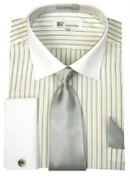 Stylish White Collar Two Toned Contrast Men's French Cuff Grey stripes with Tie Mens Dress Shirt