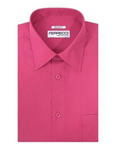 Ferrecci Classic Regular Fit Cotton Blend Fuchsia Barrel Cuffs Pink Color Men's Dress Shirt