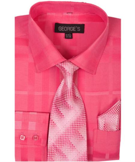 Fuchsin 60% Cotton 40% Polyester Shadow Striped Tie with Hanky Mens Dress Shirt