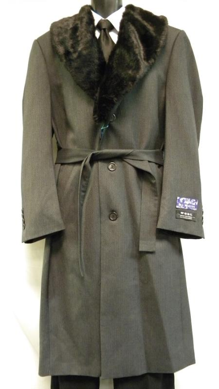 Men's Vintage Style Coats and Jackets Mens Full Length Fur Collar Gray Belted Top Coat $170.00 AT vintagedancer.com