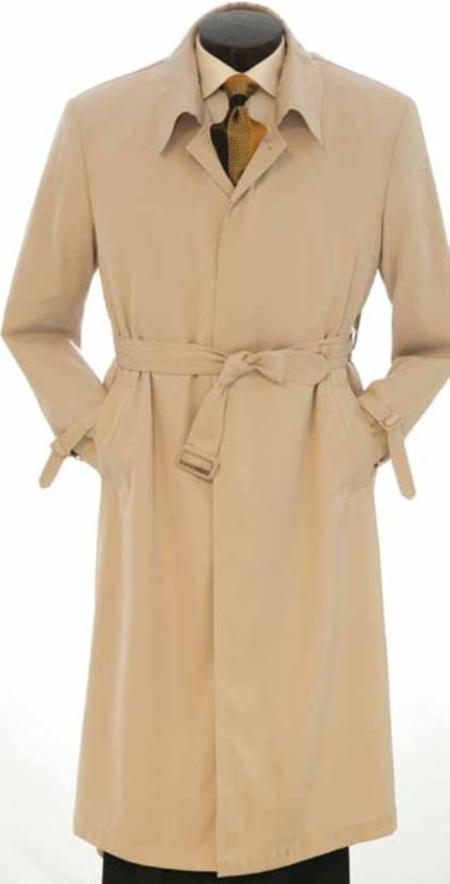 EMIL_CT05 Mens Full Length Trench Rain Coat In Khaki ~ Tan ~ Taupe