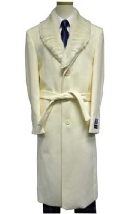 Mens Full Length Fur Collar White ~ Cream Vance Wool Overcoat (Belt not included )