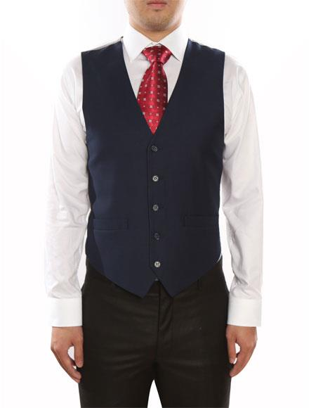 Men's  Classic Fit 5 Button Fully Lined Dark Navy Vest