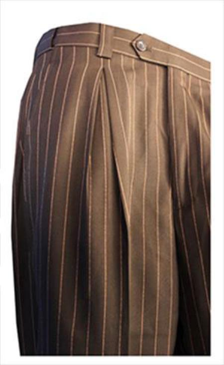 Mens Bold Chalk Pinstripe Gangster Slacks Dress Pants Pleated Pants Available Colors Black/White And Navy/White unhemmed unfinished bottom