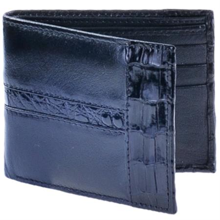 Mens Genuine Exotic Animal Skin Cartera Piel con caiman ~ World Best Alligator ~ Gator Skin Mens Wallet –Negro