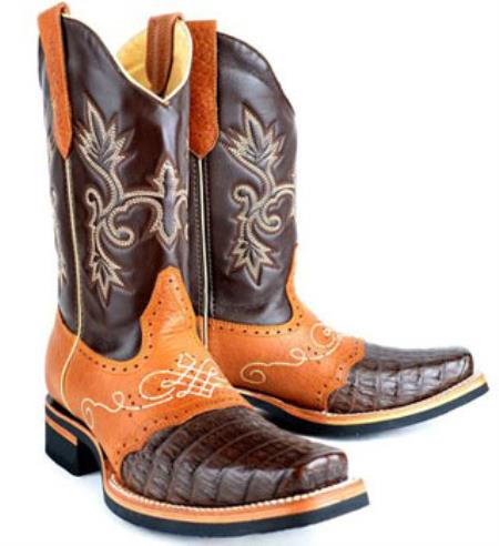 Mens King Exotic Cowboy Style By los altos botas For Sale Gator (Caiman) Skin Rodeo Boot Brown