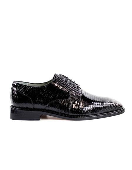 Authentic Genuine Skin Italian Men's Genuine Lizard Black Shoes