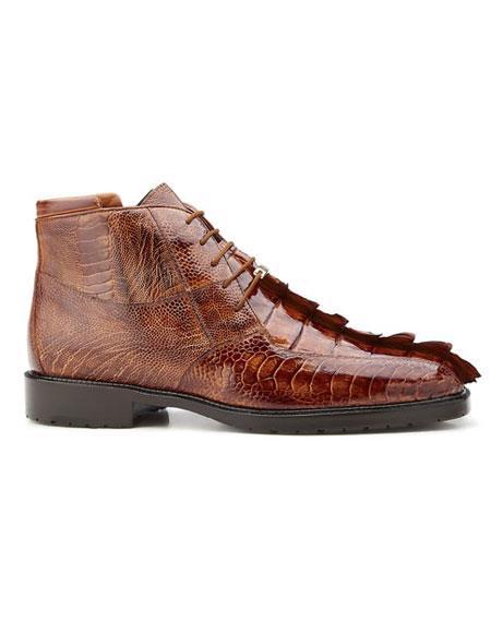 Authentic Genuine Skin Italian Men's Brandy/Antique Brown Genuine Hornback And Genuine Ostrich Shoes