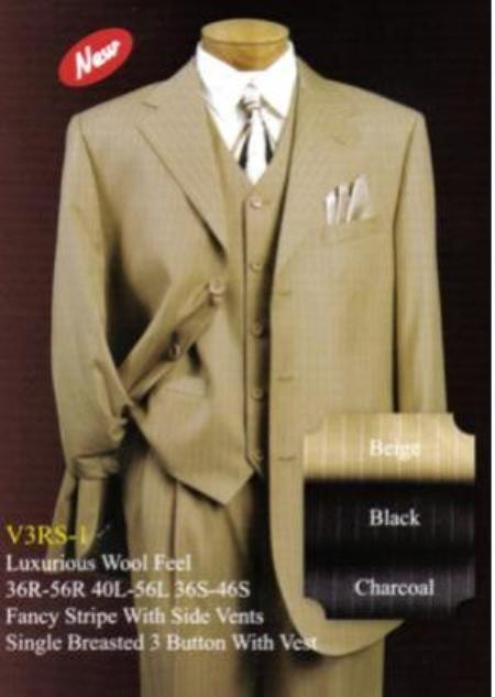 SKU# KWR531 Mens Gold / Bronze Pinstripe Two 2 Buttons Style Jacket Vested Suits $159