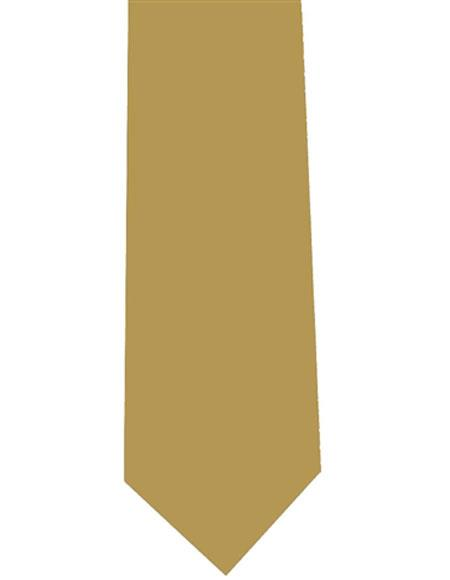 Extra Long Mens Polyester Neck Tie Gold