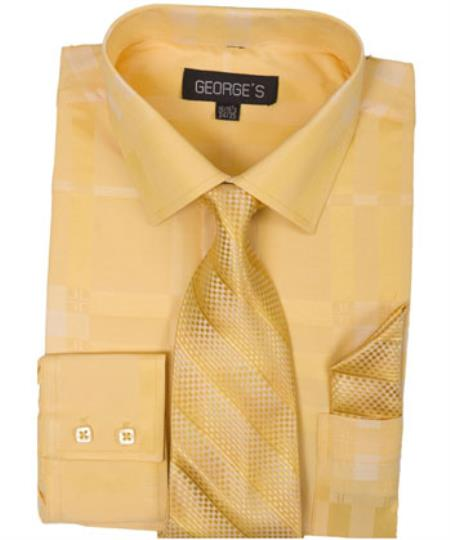Gold 60% Cotton 40% Polyester Shadow Striped Tie with Hanky Mens Dress Shirt