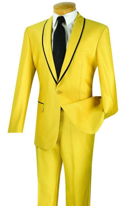 Mens Two Toned yellow ~ Gold With Black Lapel suit (Tuxedo Looking Dinner Jacket Blazer + Pants)