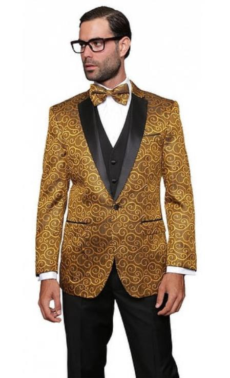 Men's Gold Wool Blend Modern Fit Vested Suit on Sale